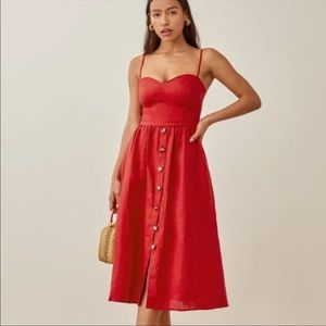 Reformation Cale Cherry Red Linen Dress